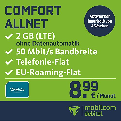 mobilcom-debitel Comfort Allnet im Telefonica Netz (8,99 EUR monatlich, 24 Monate Laufzeit, Telefonie-Flat in alle deutschen Netze, EU-Flat 2GB Internet Flat, LTE mit max. 50 MBit/s, Triple-Sim-Karten)