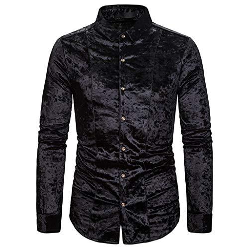 Xmiral Hemd Tops Herren Kurzer Plüsch Lange Ärmel Slim Fit Umlegekragen Einfarbig Polohemd Herbst T-Shirt Hemden Sweatshirt(Schwarz,XXL)