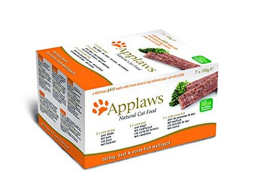 Applaws Katze Schale Pastete, Truthahn, Rind, Meeresfisch, Multipack, 7er Pack (7 x 100 g)