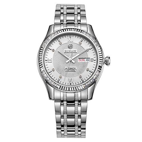 binlun da uomo Casual in acciaio inox argento cristallo zaffiro automatico orologi con data e giorno per uomo