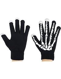 Esqueleto Guantes Pantalla Táctil de Deporte y Movimiento Esqueleto Guantes (Pantalla Táctil y Fluorescencia Negro / Blanco)