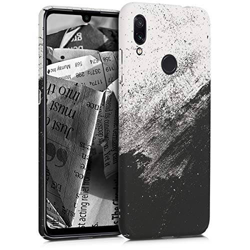 kwmobile Funda para Xiaomi Redmi Note 7 / Note 7 Pro - Carcasa Trasera Protectora para móvil - Cover Duro con diseño de Tinta en Blanco y Negro