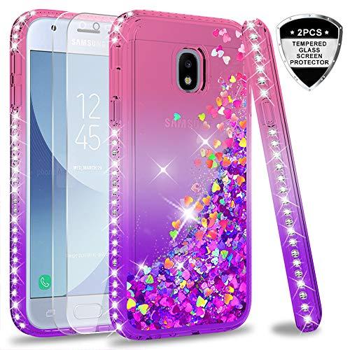 LeYi Hülle Galaxy J3 2017 Glitzer Handyhülle mit Panzerglas Schutzfolie(2 Stück),Cover Diamond Rhinestone Bumper Schutzhülle für Case Samsung Galaxy J3 2017 Handy Hüllen ZX Gradient Pink Purple