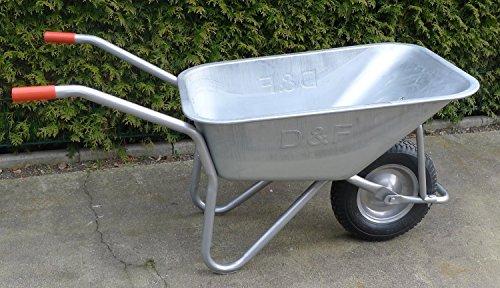 S+S Schubkarre 200Kg für Garten, Bau und Stall mit Stahlfelge, Vollverzinkt, Pulverbeschichtet