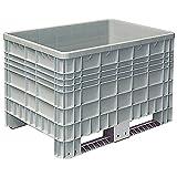 Palettenbox mit Außenrippen und 2 Kufen, LxBxH 1200 x 800 x 800 mm