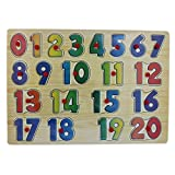 0-20 Wooden Number Puzzle Picture Board With Peg Knobs - (1c236) - Learning Educational Math Toys for kids 18M+