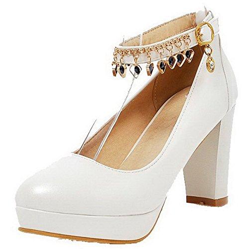 AllhqFashion Femme Matière Souple Boucle Rond à Talon Haut Mosaïque Chaussures Légeres Blanc