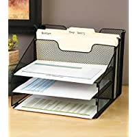 Vanra - Vassoio organizzatore in metallo per scrivania, organizer don 3 vassoi, portacorrispondenza, 2 sezioni verticali, colore: Nero