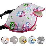 Babys-Dreams MUFF mit Lammwolle *BUNT* kuscheliger Handwärmer - Muff für Kinderwagen , Buggy, Radanhänger - WOLLE - Sterne (Beige/Bunt kl. Eule)