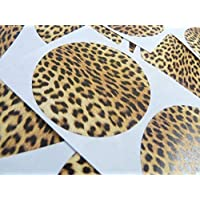 50 Leopard Print, Design, Pattern Sticky Labels, 50mm Circular, Stickers, 2 inch Round Circle, Colour Code, Self-Adhesive