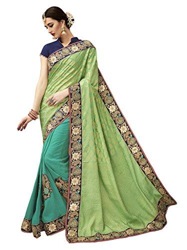 Manish Creation Silk Saree (Pragya_Bridal_5004_Light Green,Turquoise Free Size)