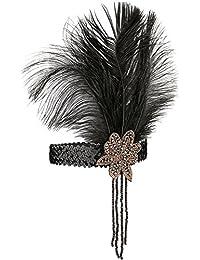 1920s Headband,1920s Headpiece - KQueenStar 1920s Sequins Headpiece Vintage Flapper Headband Peacock Feather Headband