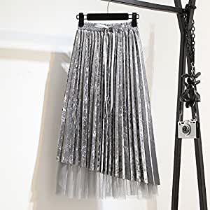 bf5e9ce954 WDDBSQ Tulle Skirt/Half-length skirt/Mesh/Banquet/Gala/Party/Dress/Pleated  Skirt/High Waist/Thin/Gold Thread/Gauze/A Skirt/Long Paragraph/Irregular/ Skirt/ ...