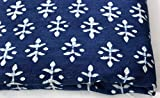 #8: Handicraftofpinkcity Indian Hand Block Print Fabric Sanganeri Handmade Handmade Cotton Fabric 2.5 Meter Indigo Blue Fabric