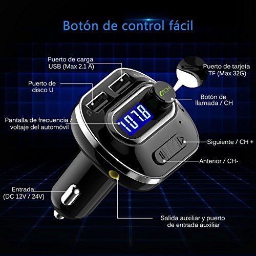 VicTsing Transmisor FM Bluetooth 4.1 para Coche, Mini Manos Libres Emisor, AUX Salida, Radio Adaptador y Reproductor de MP3, USB Cargador de Coche sin Instalacion, Tarjeta TF, para Móviles, Tablet, etc- Negro
