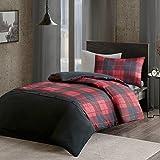 URBAN HABITAT Bryce Sets de Housses de Couettes Percale, Parure de lit Avec Housse de Couette en Microfibre (Single UK:135x200cm+50x75cm, Rouge-Noir)