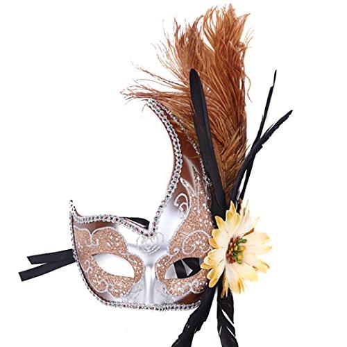 Feder Sexy Spitze Partei-Maske Venetian Carnival Anonymous Mask gespickt mit Strass-Kostümball (Maske Scary Für Verkauf Clown)