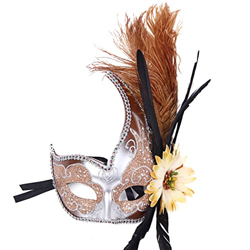 Feder Sexy Spitze Partei-Maske Venetian Carnival Anonymous Mask gespickt mit Strass-Kostümball (Scary Verkauf Zum Kostüme Clown)