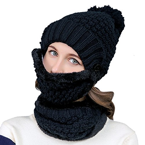 Women Winter Beanie Hat Scarf - Knit Hat Thick Knit Skull Cap for Women Girls, Ladies Warm Windproof Hat Circle Scarf Mask Set Beanie 3-IN-1, Best Festival and Birthday Gift