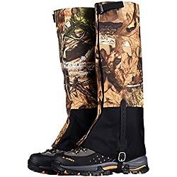 WINGONEER Unisex impermeable a prueba de nieve al aire libre excursiones senderismo Gaiters Escalada de caza de nieve legging pierna cubierta envolturas - camuflaje