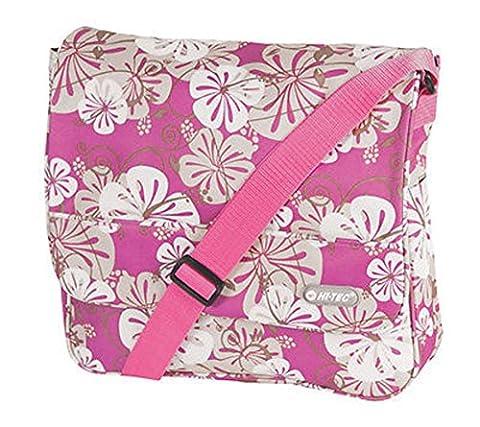 Hi-Tec Big Flower Design Lady Girls courier Satchel School Bag Various colors (FUCHSIA)