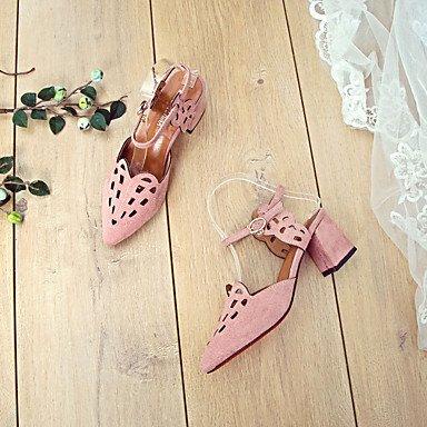 LvYuan Da donna Sandali PU (Poliuretano) Primavera Estate Fibbia Floreale Quadrato Nero Grigio Rosa 5 - 7 cm gray