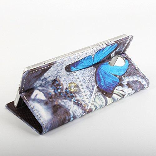 Easbuy Bunt Pu Leder Kunstleder Flip Cover Tasche Handyhülle Hülle Case Handytasche Schutzhülle Etui für Homtom HT7 HT7 PRO