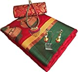 purvi fashion Cotton Saree With Blouse Piece (all new mataka_red_Red_Free Size)