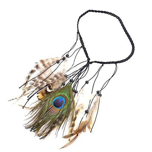 Baosity Vintage lange Pfau & Feder Form Quaste Stirnband Haarband Kopfband Indische Pfau Feder Quasten Kopfschmuck
