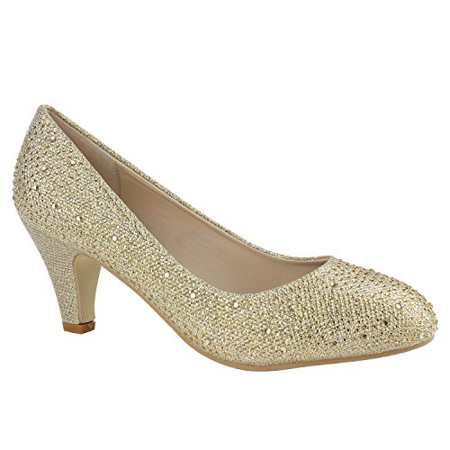 Klassische Damen Pumps | Stilettos Abendschuhe | Lederoptik Glitzer Metallic Lack | Schleifen Tanzschuhe Brautschuhe Gold Strass