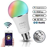 Smart LED Lampadina ALEXA, Google Home: Wifi LED di luce, B227W RGB che cambia colore, funzione timer, telecomando da dispositivi iOS/Android, 60W equivalente, no Hub required, classe energetica A +-Jiwei