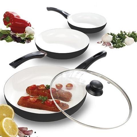 Cooks Professional 3 Piece Ceramic Pan Set Non-Stick, Scratch Resistant & Easy To Clean. (Black)