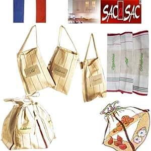 3 Sacs en Coton Assemblables par zip - Conservation: Ail, Oignons, Echalotes - 23 X 23 cm chaque. Fab. France