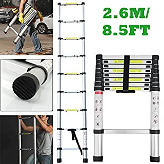 Autofather 2.6M 8.5FT Telescopic Ladder Portable Aluminum Extension Ladder Single Straight Multi-Purpose for Home Loft Office