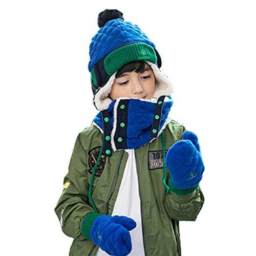 50d276760 TRIWONDER Niñas niños pequeños Conjunto de mitones de bufanda con sombrero  de solapa de forro polar