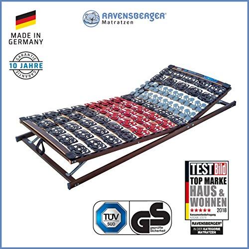 Ravensberger Matratzen® Meditec® Lattenrost | 5-Zonen-TPEE-Teller-Systemrahmen | Schichtholzrahmen| verstellbar| Made IN Germany - 10 Jahre GARANTIE | TÜV/GS 100 x 200 cm
