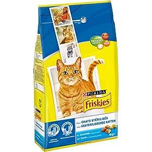 Friskies Chat Croquettes pour chat adulte stérilisé Saumon & Légumes ajoutés 4 kg - Lot de 4 (16 kg)
