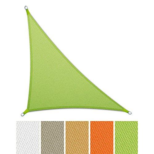 casa pura® Sonnensegel wasserabweisend imprägniert | Dreieck | Testnote 1.4 | UV Schutz | verschiedene Farben und Größen (hellgrün, 5 x 5 x 7 m)