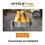 Profi Edelstahl Feuerschale 70 cm Garten Feuerstelle Feuerkorb Pflanzschale Klöpperboden Terrasse