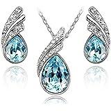 Lacrima Crystals from Swarovski Blu Acquamarina simulato Purare Collana con ciondolo 45 cm Orecchini 18 kt placcato oro bianc