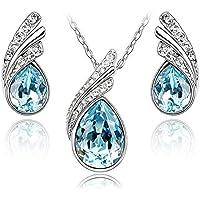 Lacrima Crystals from Swarovski Blu Acquamarina simulato Purare Collana con ciondolo 45 cm Orecchini 18 kt placcato oro…