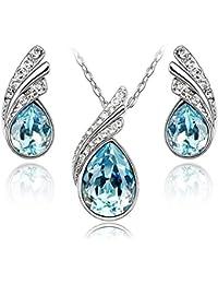 ba0a92231ca6 Lágrimas Crystals from Swarovski Azul Aguamarina simulada Juego de joyas  Collar con colgante 45 cm Pendientes