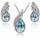 Tropfenform Crystals from Swarovski Blau Simulierter Aquamarin Schmuck-Set Halskette Anhänger 45 cm Ohrringe 18 kt Weiß Vergoldet