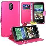HTC Desire 526G Handy Tasche, FoneExpert® Wallet Case Flip Cover Hüllen Etui Ledertasche Lederhülle Premium Schutzhülle für HTC Desire 526G (Rosa)