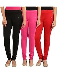 FlyColors Women's Cotton Churidar Leggings(Pack Of 3) - B072LVHVDC