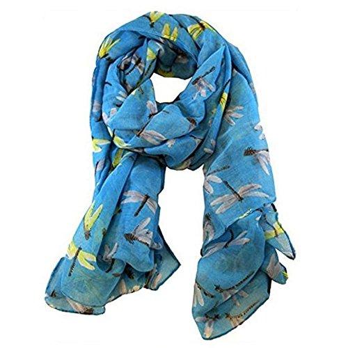 Skang Schal Halstücher Der lange süße Libellen-DruckSchal der Frauen-Dame wickelt Schal-weiche Schals LB ein chiffon Hellblau