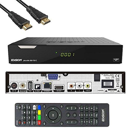 Edision PICCOLLO S2+T2/C Combo Receiver H.265/HEVC (DVB-S2, DVB-T2, DVB-C,) CI Full HD USB Schwarz inkl. HDMI Kabel