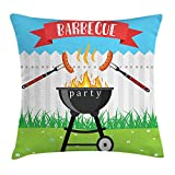 EJjheadband BBQ Party Throw Pillow Cushion Cover, Kitchen Utensils Roasting Sausage Over The Fire Backyard Cooking Party Theme, Decorative Square Accent Pillow Case, 18 X 18 Inches, Multicolor
