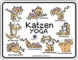 Original RAHMENLOS Blechschild Katzen Yoga: der Jäger - der Buckel - der Schmuser …