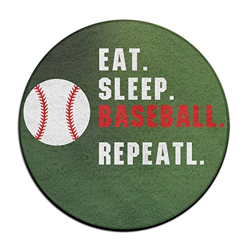 Unbekannt EAT Sleep Baseball Repeat Baseball Fans Anti-Rutsch-Matten Zirkular Teppich Mats Esszimmer Schlafzimmer Teppich Fußmatte 59,9cm -
